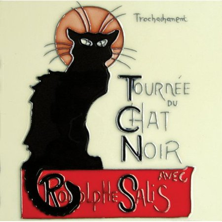 Continental Art Center Chat Noir Vintage Black Cat Tile Wall Decor