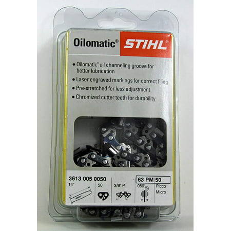 Medium Fluorescent Chain - 63 PM-50 STIHL 14 Picco Micro -Chainsaw Chain - 50 Drive Links - 3/8 Pitch - .050 Gauge