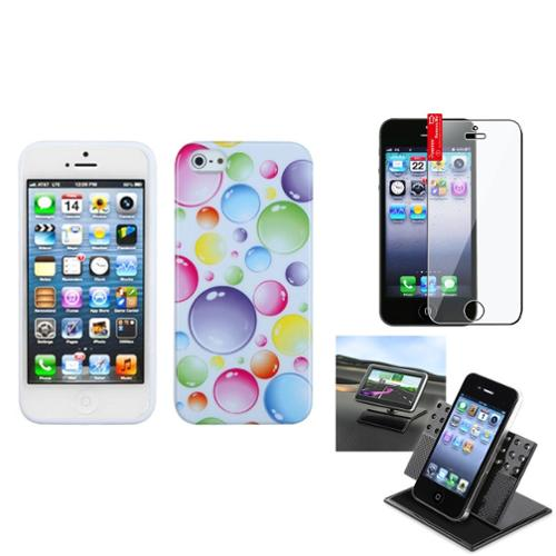 Insten Film Holder Rainbow Bigger Bubbles Candy Case Cover For APPLE iPhone 5 5S