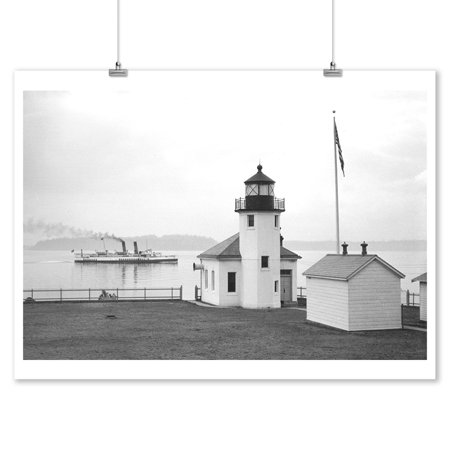 (Alki Point Lighthouse - Photograph (9x12 Art Print, Wall Decor Travel Poster))