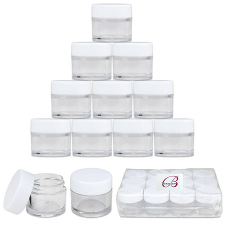 Beauticom 24pcs 7 Gram 7 ml Round High Quality Acrylic Clear Sample Leak Proof Container Jars with White Lids - Scrubs Oils Salves Creams Ointments Creams