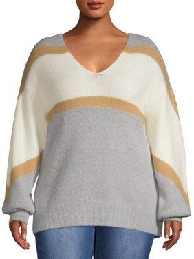 Como Blu Women's Plus Size Shimmering Balloon Sleeve Sweater