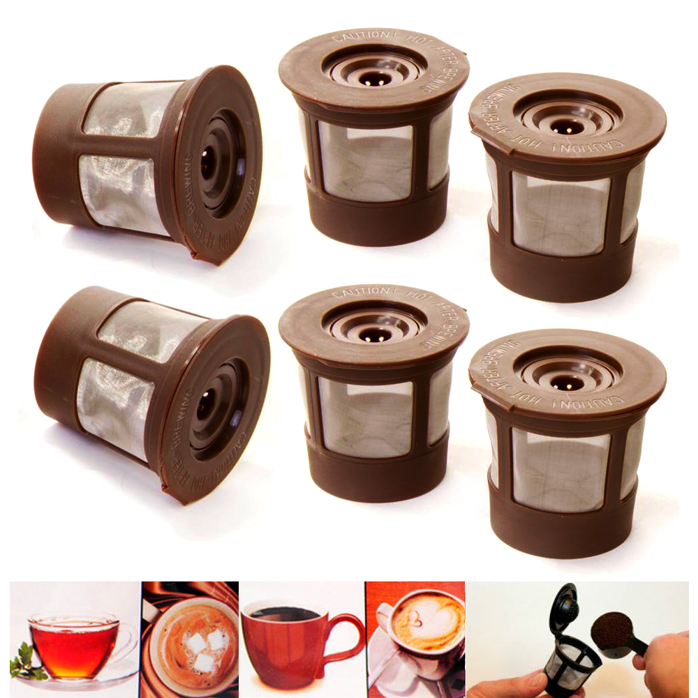 6X Reusable Single K Cup Keurig Filter Pods Coffee Stainless Steel Mesh BPA Free