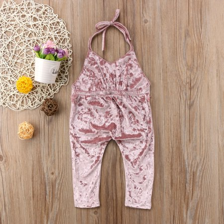 - Baby Little Girls Sling Halter Backless Velvet Romper Jumpsuit Bodysuit Harem Pants Outfits