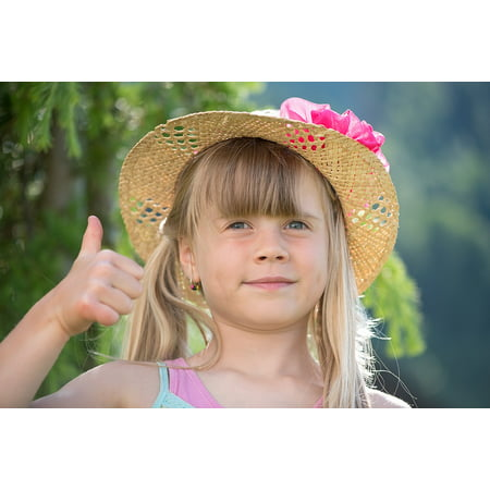 LAMINATED POSTER Blond Thumbs Up Hat Child Out Girl Long Hair Poster Print 24 x 36