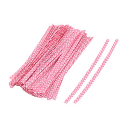 Plastic Dots Pattern Candy Bags Packaging Twist Ties Pink 10cm Length 100 -