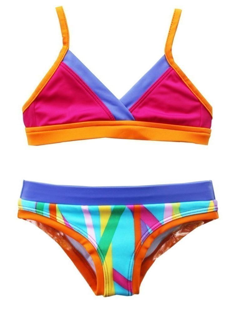 Azul Girls Purple Multi Stripe Laser Tag Triangle Pc Bikini Swimsuit