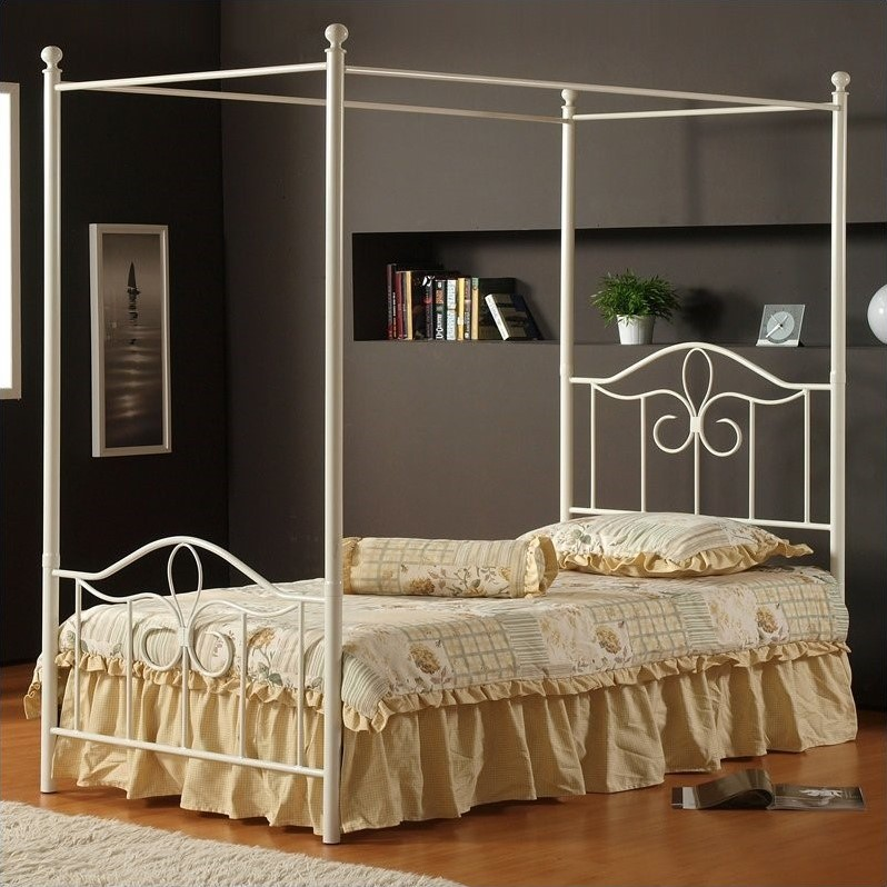 Hillsdale Westfield Metal Canopy Bed 4 Piece Bedroom Set in Off White-Full