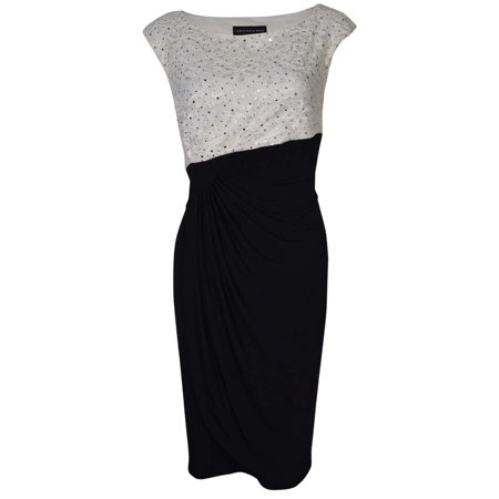 Jersey Petite Wrap Dress (Sequined Flecked Faux Wrap Lace Jersey Dress)