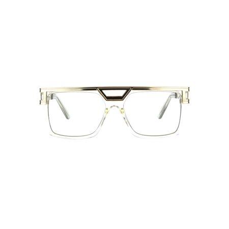 Mens Clear Lens Rectangular Flat Top Geeky Nerd Plastic Eye Glasses Clear