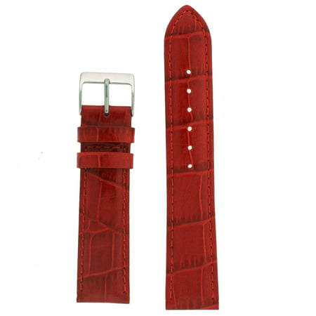 28mm Watch Band Red Genuine Leather Crocodile Grain