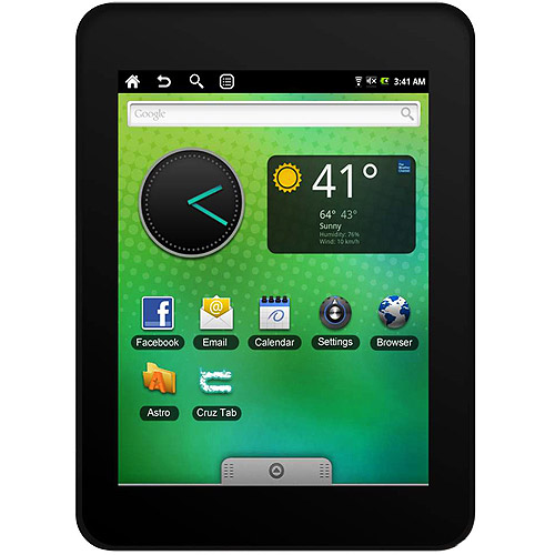 """Velocity Micro Cruz 4GB T301 7"""" Capacitive Touchscreen Entertainment Tablet, eBook Reader with Google Android 2.0 OS & 4GB SD Card"""