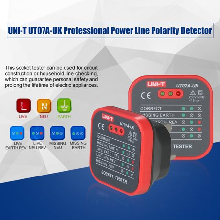 UNI-T UT07A-UK Professional Socket Tester Electrical Live/Null/Earth Line Polarity Detector - image 2 de 7