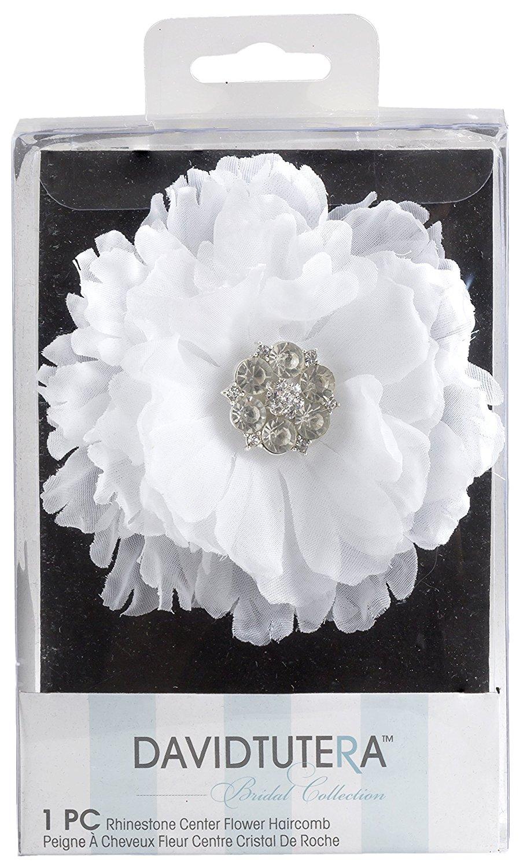 David Tutera Hair Comb Flower With Rhinestone Center White 3