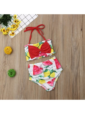 Newborn Kids Baby Girl Watermelon Strap Swimming Bikini Swimwear Swimsuit Bathing Suit Beachwear 1-2Years