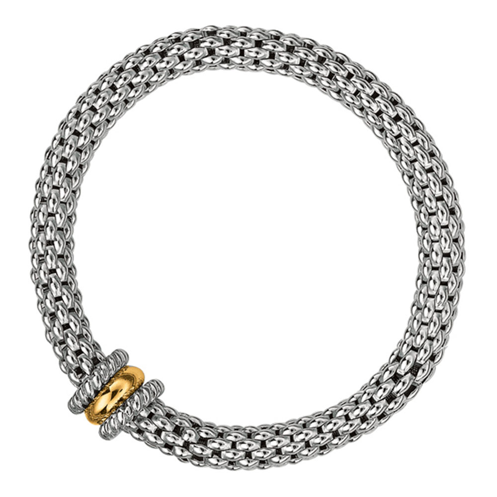 Phillip Gavriel 18k Yellow Gold & Sterling Silver Thick Mesh Popcorn Stretchable Bracelet