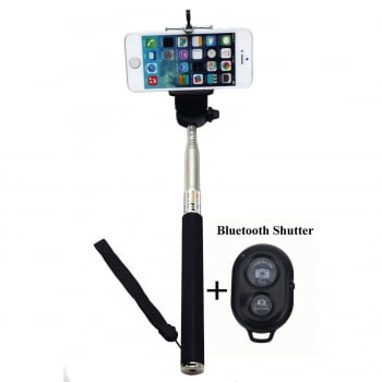 Handheld Selfie Stick With Bluetooth Remote Shutter for iPhone\/Android Adjustable