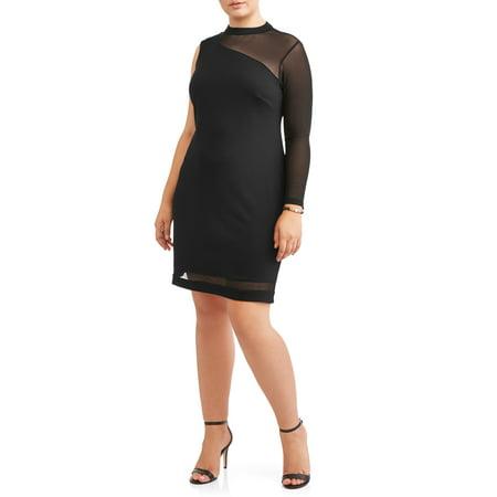 Women's Plus Size One Shoulder Mesh Little Black Dress