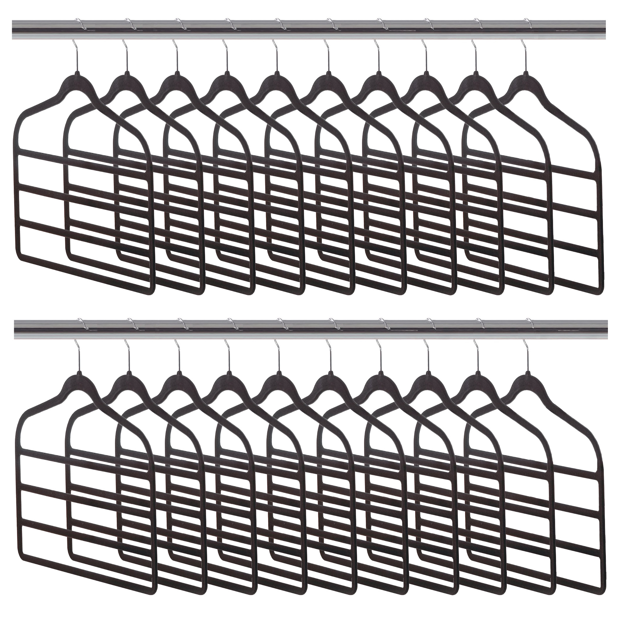 Home Ease 4-Tier Pants and Skirts Velvet Hanger, Black (20 Pack) | 2PKPH2000