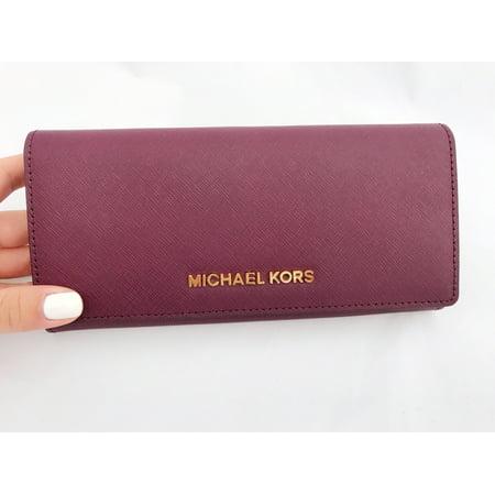 0e56bd985572 Michael Kors - Michael Kors Jet Set Travel Wallet Saffiano Leather Plum  Purple Large Clutch - Walmart.com