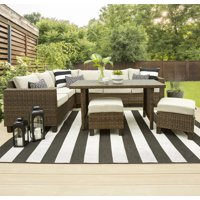 Deals on Better Homes & Gardens Brookbury Wicker Sectional Sofa Patio Dining Set, 5 Pieces