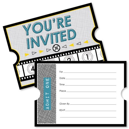 Movie - Shaped Fill-In Invitations - Hollywood Party Invitation Cards with Envelopes - Set of 12 - Hollywood Theme Invitation