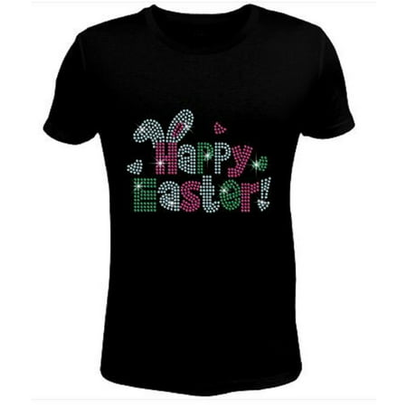 Bling Rhinestone Womens T Shirt Easter Happy JRW-068-SC - Womens Rhinestone Halloween Shirts