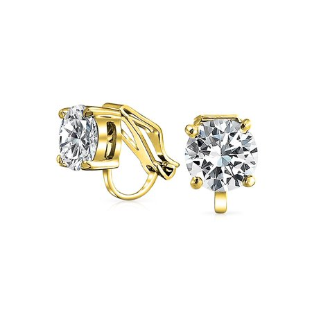 - 2 CT Brilliant Cut Solitaire Round Cubic Zirconia CZ Clip On Stud Earrings For Women 14K Gold Plated Brass