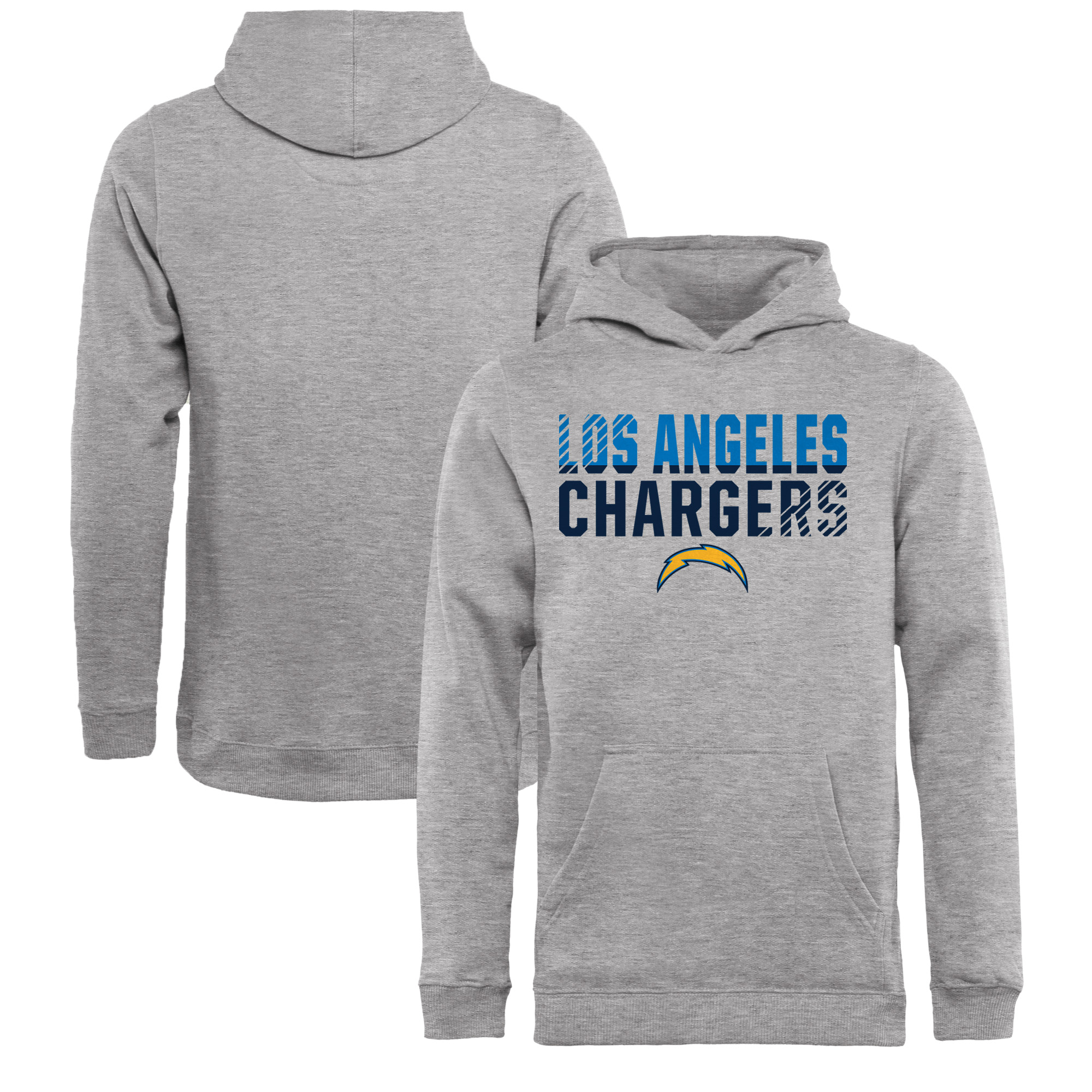 Los Angeles Chargers NFL Pro Line by Fanatics Branded Youth Iconic Collection Fade Out Pullover Hoodie - Ash