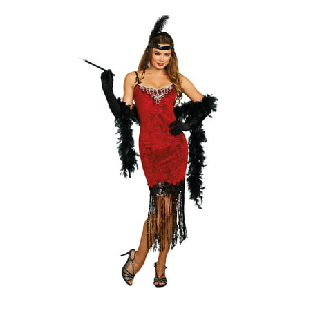 Dreamgirl Women's 1920's Ruby Red Beaded Velvet Flapper Costume Dress