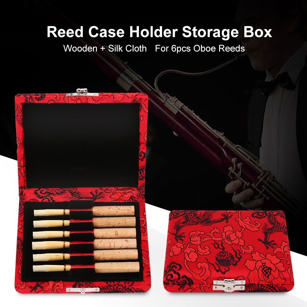 Yosoo  Wooden + Silk Cloth Cover Reed Case Holder Storage Box for 6pcs Oboe Reeds, Oboe Reeds Box,Reed Box