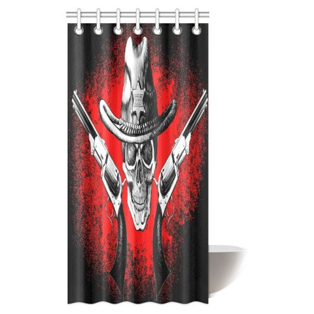 MYPOP Pirate Skull Decor Shower Curtain Jolly Roger With Two Guns Cowboy Skeleton