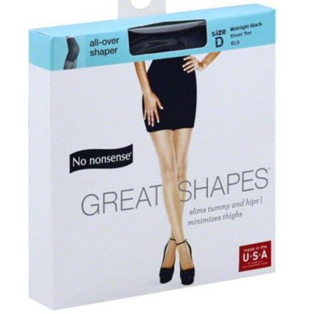 2 Pack - No Nonsense Great Shapes Body Shaping Pantyhose, Size D, Midnight Black 1