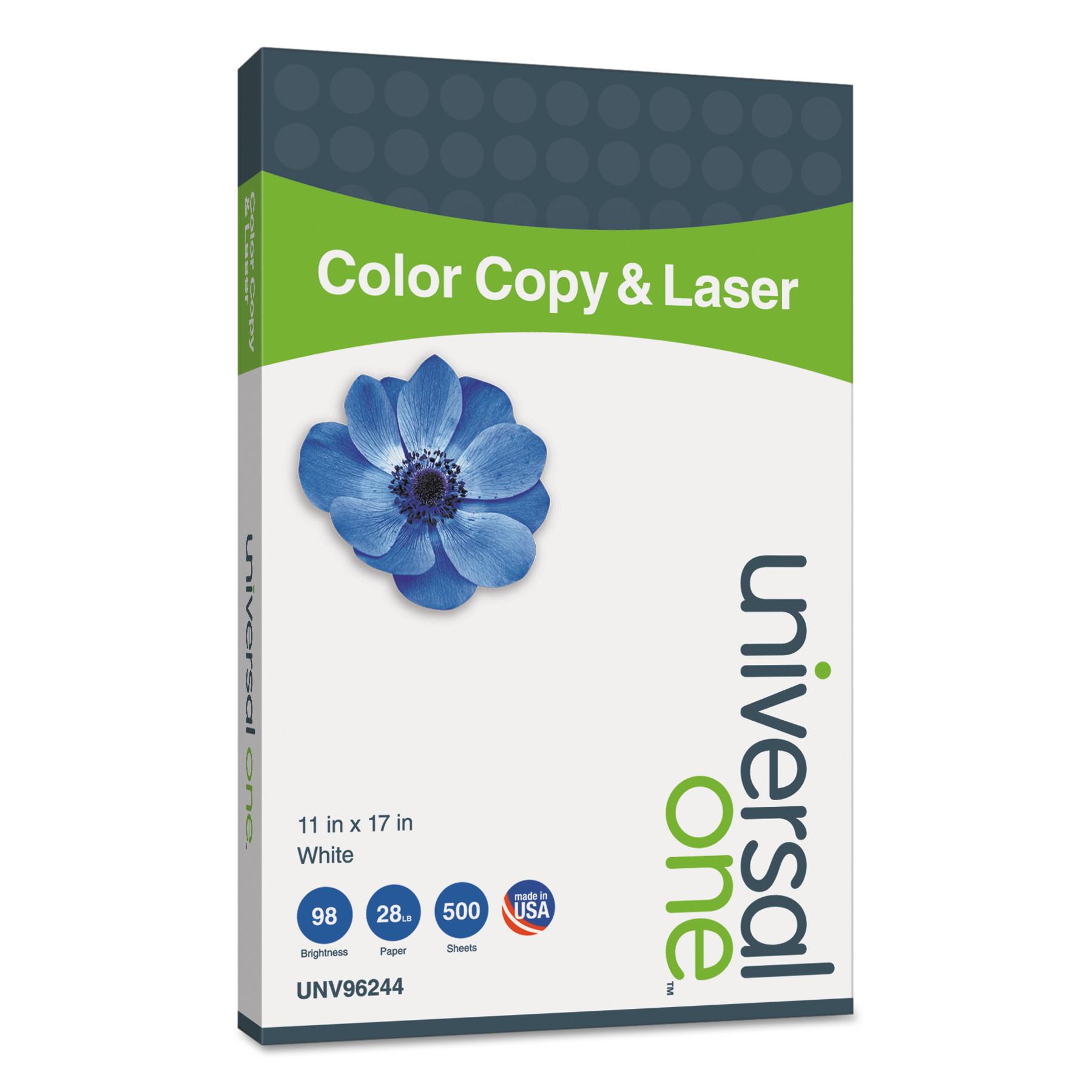 Universal Copier/Laser Paper, 98 Brightness, 28lb, 11 x 17, White, 500 Sheets/Ream -UNV96244