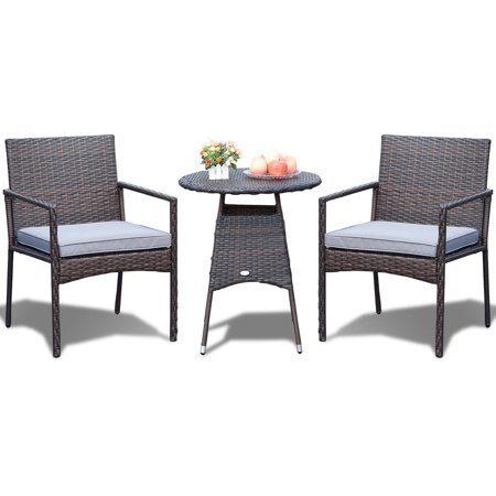Costway 3pcs Patio Furniture Set Outdoor Bistro Rattan Wicker Cushioned Seat - image 7 de 10