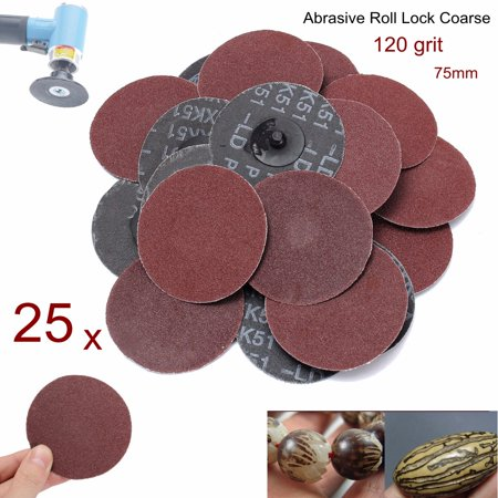 25Pcs 3inch 120 Grit R Type Roloc Sanding Discs Abrasive Roll Lock Coarse for Rotary Tool