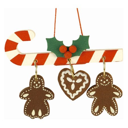 Christian Ulbricht Santa - Christian Ulbricht Candy Cane with Hanging Gingerbread Cookies Ornament