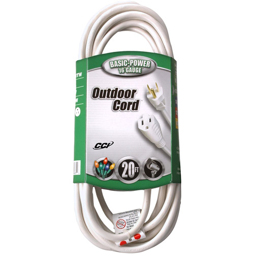 Coleman Cable 16/3 SJTW Outdoor 20' Vinyl Extension Cord, White