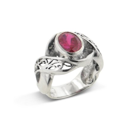 Large Synthetic Blood Red Ruby and Swirl Filigree Sterling Silver Ring