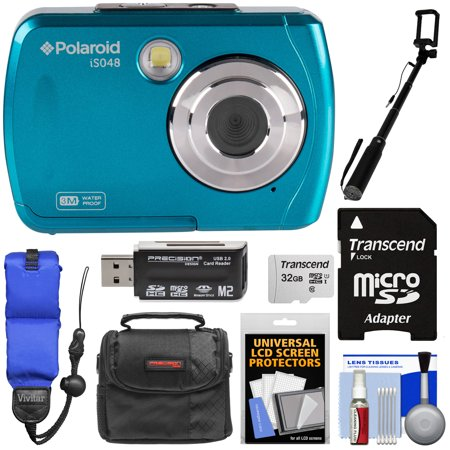 Polaroid iS048 Waterproof Digital Camera (Teal) with 32GB Card + Case + Selfie Stick + Float Strap +