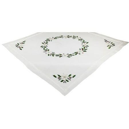 Poinsettia Table Topper (Xia Home Fashions Country Poinsettia Embroidered Hemstitch Table Topper )