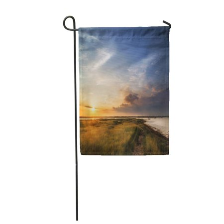 LADDKE Colorful Sky Beautiful Summer Sunset Landscape Over Wetlands and Harbor Dusk Garden Flag Decorative Flag House Banner 28x40 - Harbor Banners