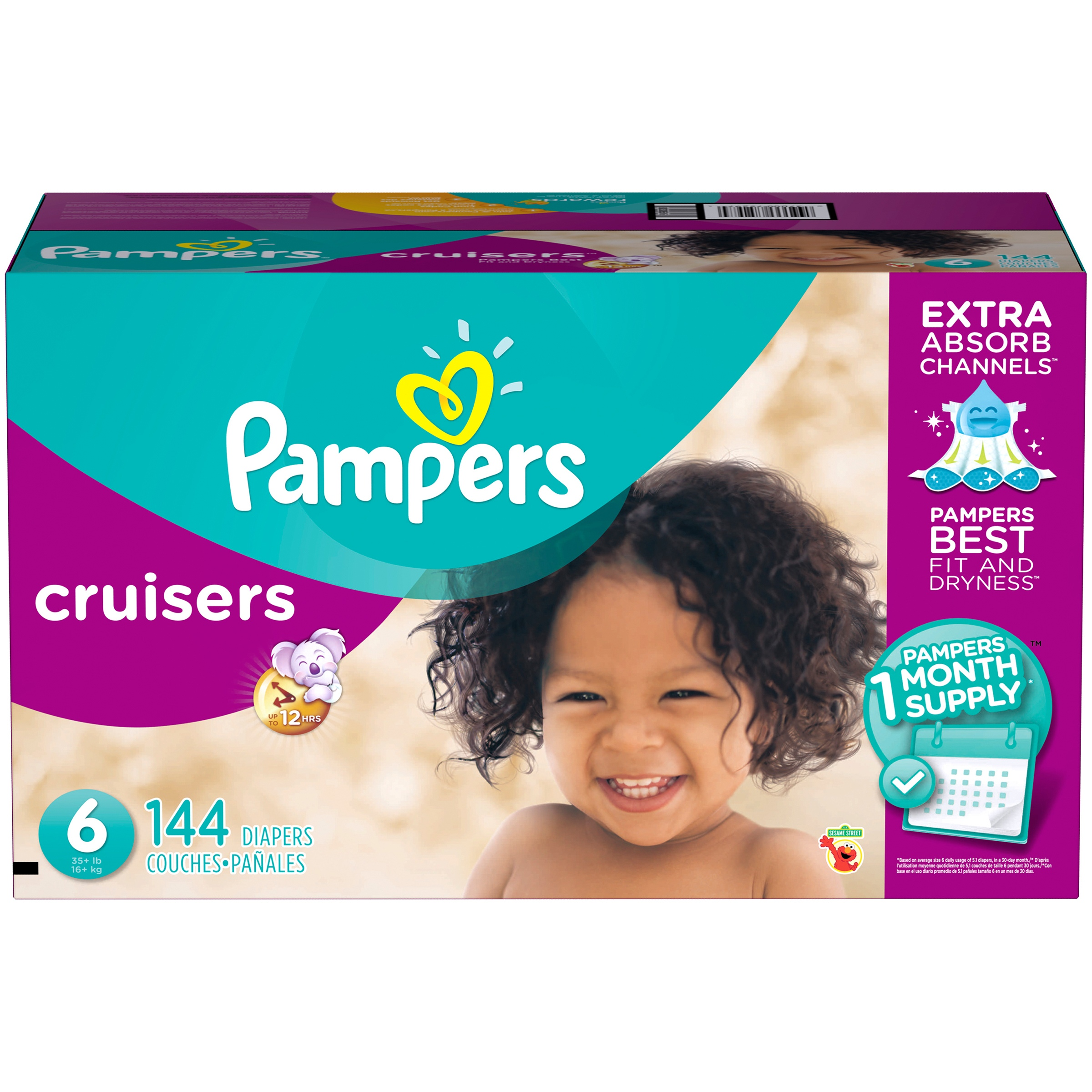 Pampers Cruisers Diapers, Size 6, 144 Count