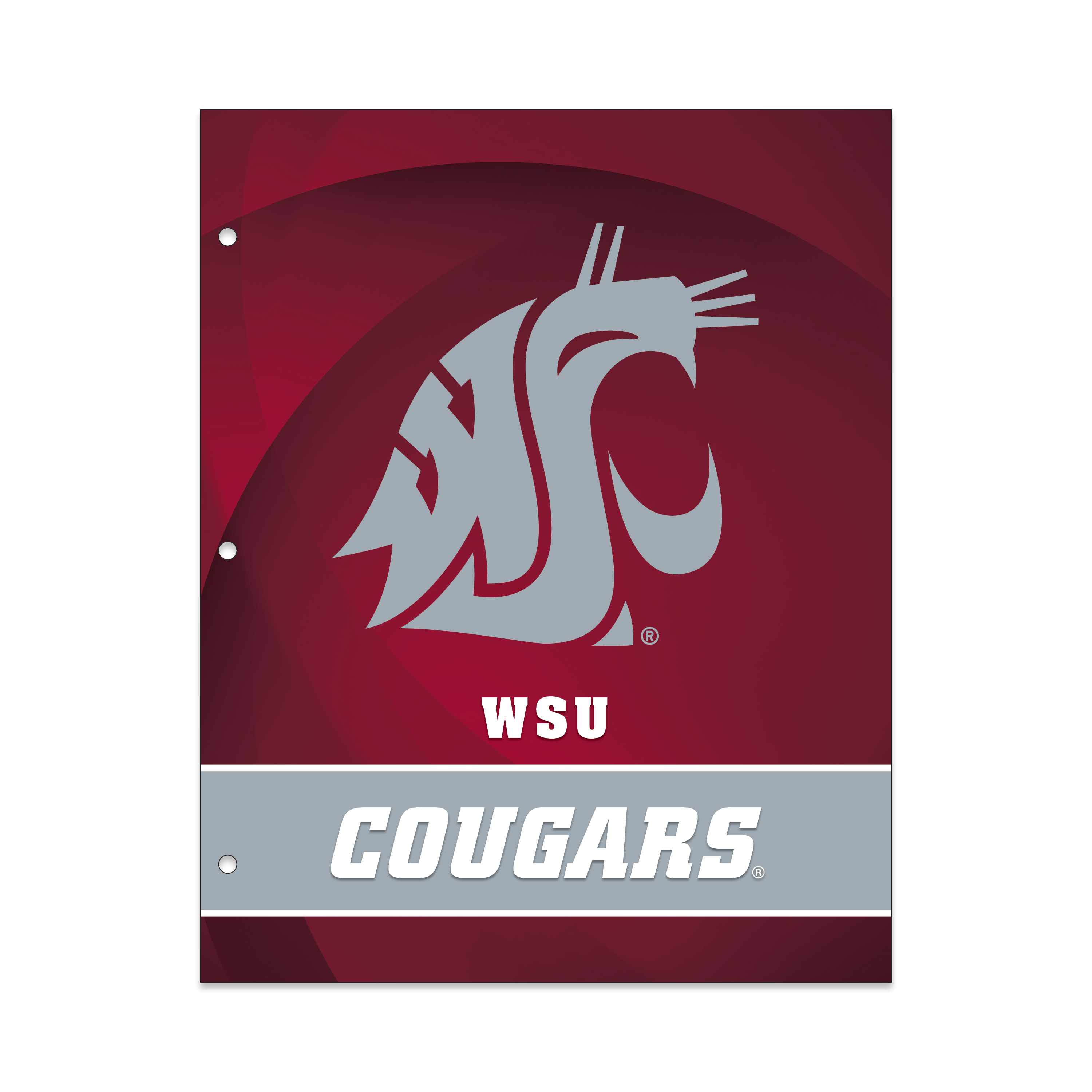 NCAA Washington State Cougars 2 Pocket Portfolio, Three Hole Punched, Fits Letter Size