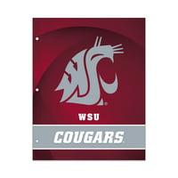 NCAA Washington State Cougars 2 Pocket Portfolio, Three Hole Punched, Fits Letter Size