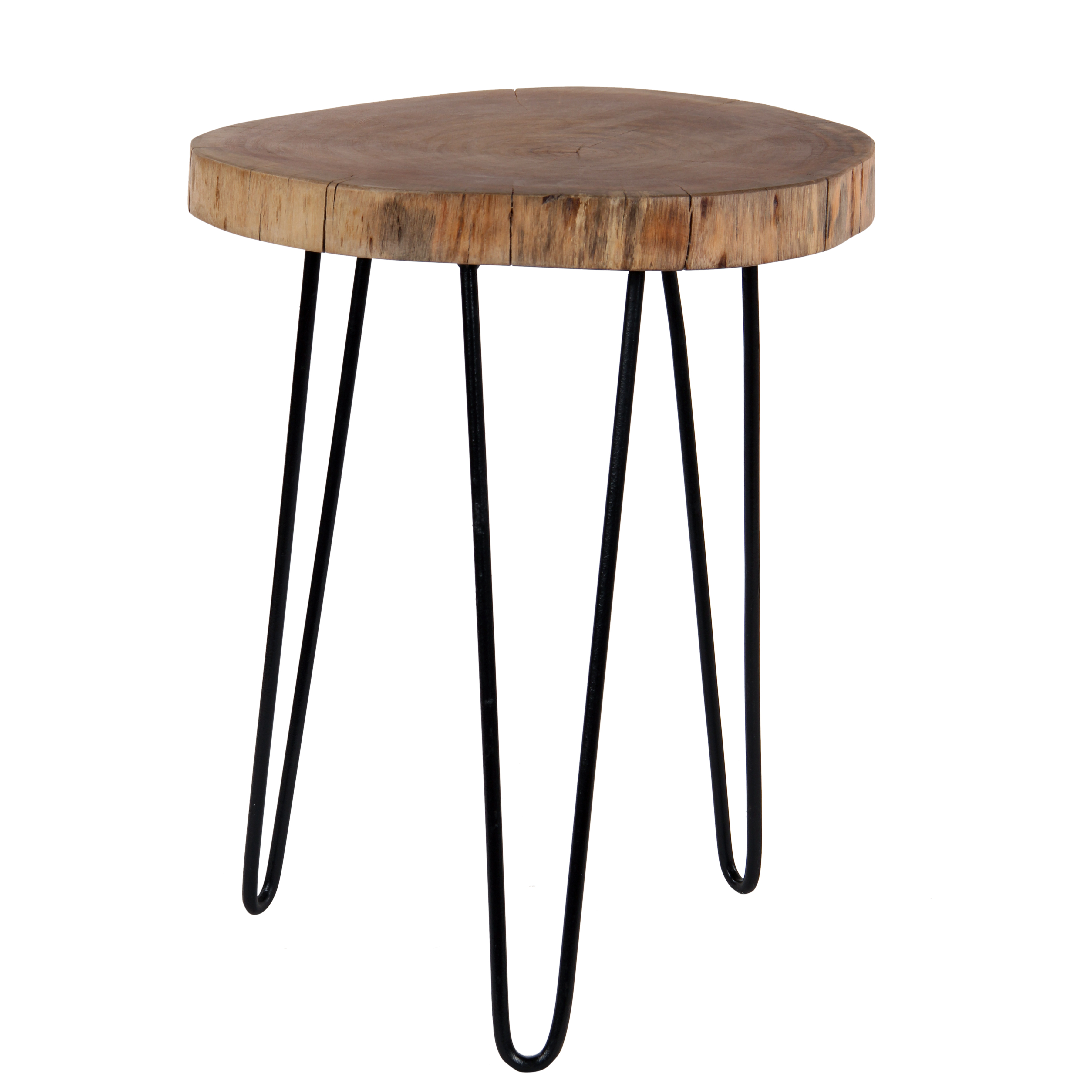 Intradeglobal Acacia Wood Live Edge Stool With Hairpin Legs Natural