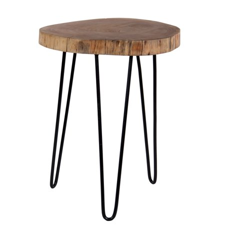 intradeglobal acacia wood live edge stool with hairpin legs natural edge end table wood accent. Black Bedroom Furniture Sets. Home Design Ideas
