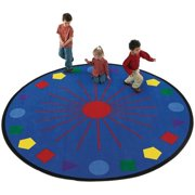 Flagship Carpets SGAL8RD 8ft Round Shapes Galore Educational Rug
