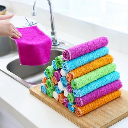 Bamboo Dish Cloths Cleaning Cloth and Dishcloths Sets Super Absorbent Towels - image 2 of 7