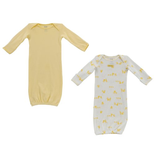 Child of Mine Yellow Layette Gown, Neutral, 2-Pack